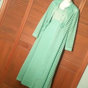 Vintage 60s Mint gown and lace overcoat